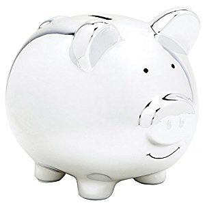 Blue/Pink/Silver-tone/White Piggy Bank