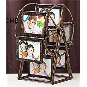 QYU Photo Frame Rotating Ferris Wheel Windmill Shape Retro Style Table Desk Decoration and Gift (brown)