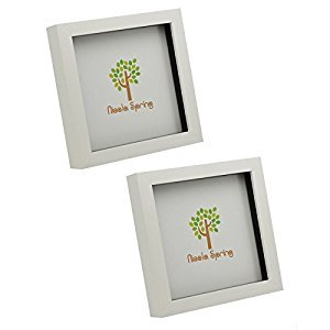 White 6x6 Box Photo Frame - Standing & Hanging - Pack of 2