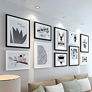 ZYANZ Multi Picture Photo Frame Set, Photo Frame Wall Set, Wall Frame Set, Gallery Wall Frame Set ,Home And Wall Decorations ( Color : Black+white )