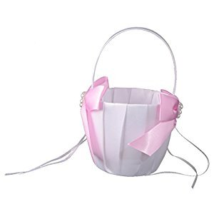 Dovewill Luxury Satin Bowknot Pearls Flower Girl Basket Wedding Accessory - Pink