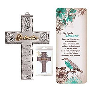 Godmother Gift | Walking Beside Me Cross And Book Card Gift Set for Godmother