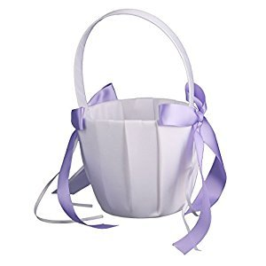 MonkeyJack Wedding Gorgeous Satin Bowknot Pearls Flower Girls Basket Wedding Accessories - Purple