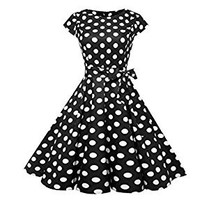 Twinsmall Womens Dresses Party Dresses 1950s Vintage Dresses Swing Stretchy Dresses Cap-Sleeve (L, Black C)
