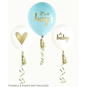 Balloon Crafts Gold Boy Baby Shower Balloons (set of 3) - Baby Announcement, Gender Reveal Party, Birthday Decorations