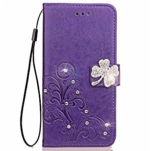 Galaxy A5 2017 Phone Case,Samsung Galaxy A5 2017 Flip Leather Purple Wallet Case,Gostyle Luxury Glitter Diamond Flower Embossed Case with Stand/Card Holder/Wrist Strap for Samsung Galaxy A520