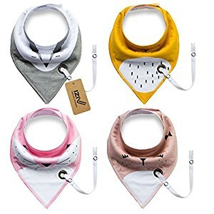 iZiv 4 PACK Baby Bandana Drool Bibs with Adjustable Snaps Pacifier Clip, Absorbent Soft Cotton Lining 0-2 Years (Color-5)