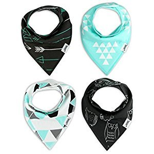 Matimati Baby Bandana Drool Bibs with Snaps, 4-Pack Extra Absorbent for Boys & Girls (Mint & Gray Set)