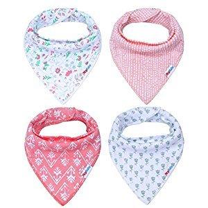 Storeofbaby Baby Bandana Drool Bibs for Girls Teething Stylish Shower Gift 4 Pack