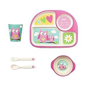 Tiny Footprint 63072 5-Piece Bamboo Toddler Feeding Set, Owl Print