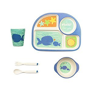 Tiny Footprint 63073 5-Piece Bamboo Toddler Feeding Set, Whale Print