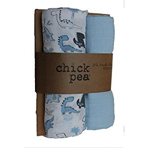 Chick Pea Muslin Swaddle Blankets - Set of 2 Blue Dino