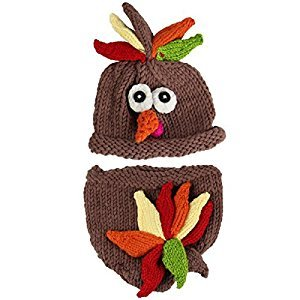 Jastore Photography Prop Baby Infant Costume Turkey Crochet Knitted Hat Diaper