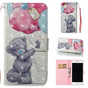 3D Phone Case for iPhone 6,iPhone 6S Case with Fold Stand Feature,Gostyle Premium PU Leather Wallet Grey Bear Painted Pattern Magnetic Flip Cover with Card Slots.