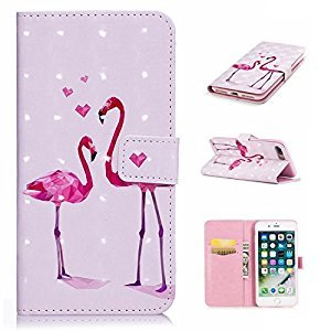 3D Phone Case for iPhone 7,iPhone 8 Case with Fold Stand Feature,Gostyle Premium PU Leather Wallet Two Flamingos Painted Pattern Magnetic Flip Cover with Card Slots.