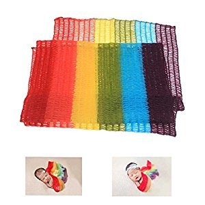 59 Inch Newborn Baby Photography Photo Prop Stretch Wrap Tassel Blanket (Rainbow color) (Red)