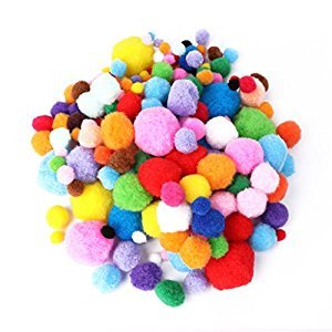 Best-topshop 200Pcs Assorted Size and Color Pom Pom Balls, 1-4cm/0.39-1.57inch, Plush DIY Craft Making and Hobby Supplies Decoration Creative Handmade Gift for Kids Boys Girls