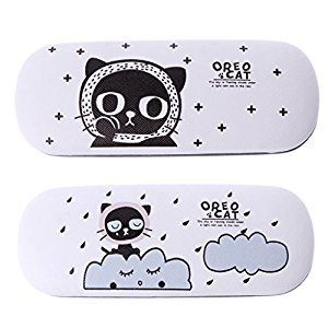 Best-topshop Pack of 2 Hard Glasses Cases Clip, 6.30 x 2.36 x 1.50 inches, Plastic Cat Printed Portable Eyewear Sunglasses Box Holder Organizer Protector for Men Women Boys Girls, Random Color