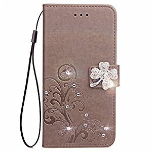 Galaxy J7 2017 Phone Case,Samsung Galaxy J7 2017 Flip Leather Grey Wallet Case,Gostyle Luxury Glitter Diamond Flower Embossed Case with Stand/Card Holder/Wrist Strap for Samsung Galaxy J720.