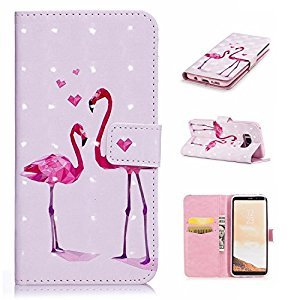 Galaxy S8 3D Phone Case,Samsung Galaxy S8 Case with Fold Stand Feature,Gostyle Premium PU Leather Wallet Two Flamingos Painted Pattern Magnetic Flip Cover with Card Slots.