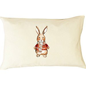 Holiday Special DorDor & GorGor Personalized Cute Drawing Picture 100% Organic Cotton Pillowcase with Hypoallergenic Pillow (Bunny)