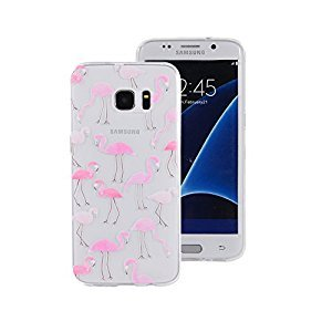 Protective Case Samsung Galaxy S7 Edge,Samsung Galaxy S7 Edge Phone Case,Gostyle Ultra Slim Drawing Pattern Clear Soft Silicone TPU Rubber Shock Absorption Back Cover(Flamingo)