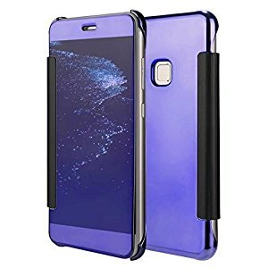 Stysen Huawei P9 Lite Mirror Case,Huawei P9 Lite Flip Case,Huawei P9 Lite Full Corner Protective Case,Luxury Stylish Noble Cool Screen Protect Purple Slim Fit Clear View Mirror Cover Metal Electroplating Technology Ultra Slim Fit Crystal Smooth Grip Durabl