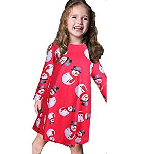 TRENDINAO Kids Toddler Girls Christmas Snowman Print Swing Long Sleeve Clothes Dress Red/Black/Blue/Gray