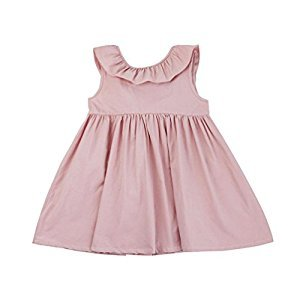 TRENDINAO Toddler Kids Pink/Wine Ruffled Backless Solid Clothes Dress