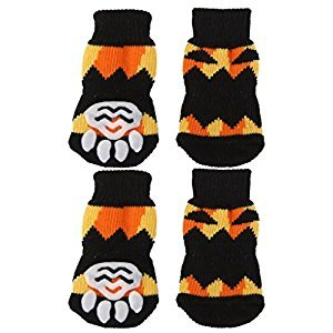 YOIOY Non Slip Small Dog Doggie Socks Paws Covers (Halloween Pattern, S)