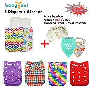 Baby Adjustable Pocket Cloth Diaper Nappy 6pcs+ 6 Inserts 6FG10