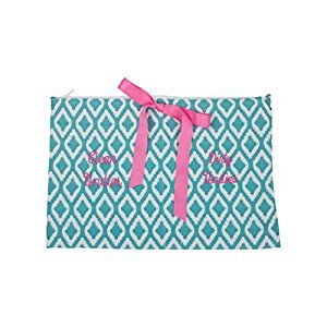 Caught Ya Lookin' Clean/Dirty Undies Bag, Aqua Diamonds/Blue/White/Pink