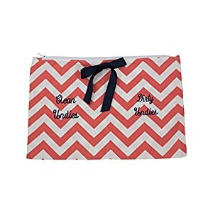 Caught Ya Lookin' Clean/Dirty Undies Bag, Coral Chevron/Coral/White/Blue