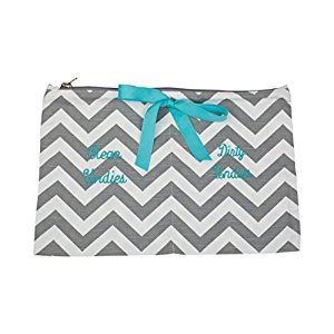 Caught Ya Lookin' Clean/Dirty Undies Bag, Gray Chevron/Gray/White/Blue