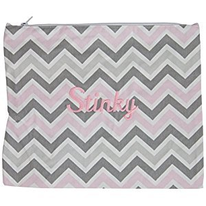 Caught Ya Lookin' Stinky Bag, Chevron/Gray/Pink/White