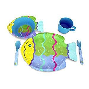Culina® Kids! 5-Piece Bamboo Fiber Dinnerware Set ® Fish Design, BPA-Free, eco-friendly