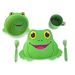 Culina® Kids! 5-Piece Bamboo Fiber Dinnerware Set ® Frog Design, BPA-Free, eco-friendly