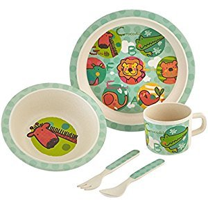 Culina® Kids! 5-Piece Bamboo Fiber Dinnerware Set ® Jungle Animal Design, BPA-Free, eco-friendly