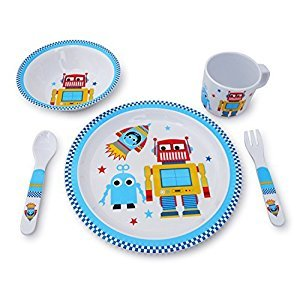 Culina® Kids Plate and Bowl Melamine Dinnerware- Robot. Set of 5