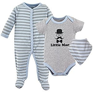 Luvable Friends Baby Sleeper, Bodysuit and Bandana Bib Set, Little Man, 6-9 Months