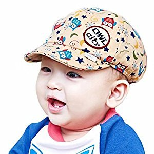 Toddler Baby Summer/Spring Breathable Cotton Hat for Sun Protection; Vintage Beach Peaked Cap Owl Flat Cap
