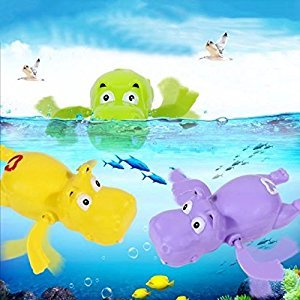 Toddler Bath Wind Up Toys Pack of 3 Alligator, Hippo, Frog Swimming Toys BPA Free Durable with Quality Guarantee for Bathtub