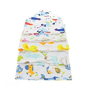 Toyofmine Bandana Drool Bibs Baby Cute Cartoon Printed Soft with Adjustable Snaps for Boys & Girls 5-Pack Unisex