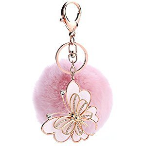 Ayiqi Solid Color Rabbit Plush Ball Butterfly Pendant Keychain Fluffy Handbag Charm Key Ring Car Key Decoration (Pink)