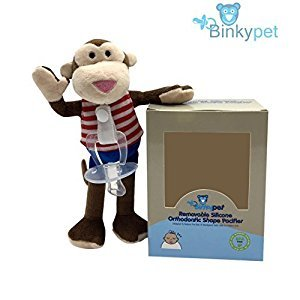 BinkyPet Newborn Pacifier with Unique Stuffed Animal | Orthodontic Safe | Infants, Toddlers Teething Support | Soothing, Travel-Friendly Comfort | Colorful, Plush Toy (Multicolor MONKEY)