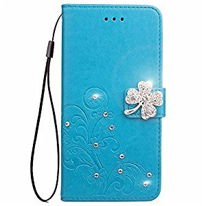 Google Pixel XL Phone Case,Google Pixel XL Flip Leather Blue Wallet Case,Gostyle Luxury Glitter Diamond Flower Embossed Case with Stand/Card Holder/Wrist Strap for Google Pixel XL