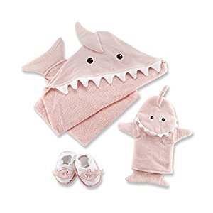 Baby Aspen Let The Fin Begin 4 Piece Bath Time Gift Set, Pink
