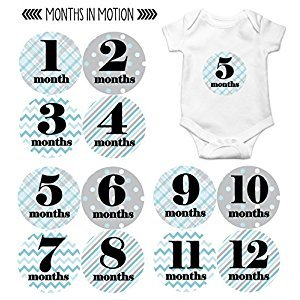 Months in Motion 089 Monthly Baby Stickers - Baby Boy - Month 1-12 - Milestone Age Sticker Photo