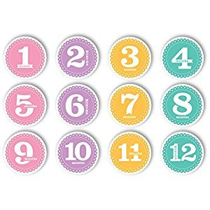 Tiny Ideas First Year Monthly Milestone Photo Sharing Baby Belly Stickers, 1-12 Months, Pink
