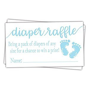 50 Blue Baby Feet Diaper Raffle Tickets - Boy Baby Shower Game